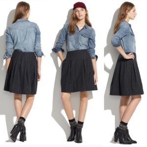 Madewell structured pleat wool skirt pockets grey